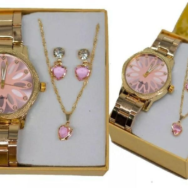 Relógio feminino dourado + kit colar e brinco foliado +