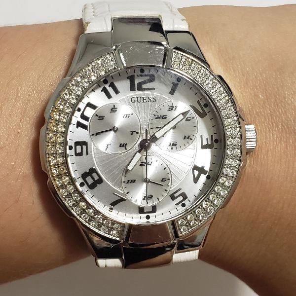 Relógio guess com pulseira em couro