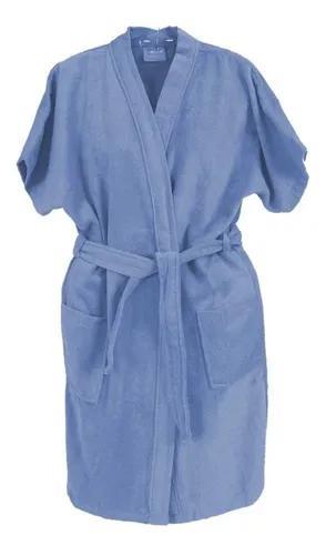 Roupão de banho veludo juvenil algodão azul 12