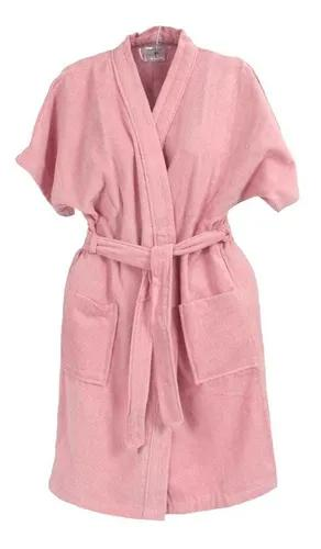 Roupão de banho veludo juvenil algodão rosa 14
