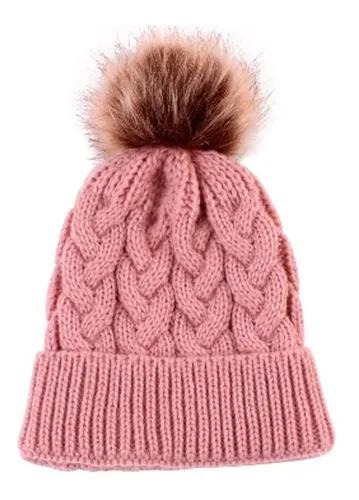 Touca rosa gorro criança bebe touquinha pompom croche frio