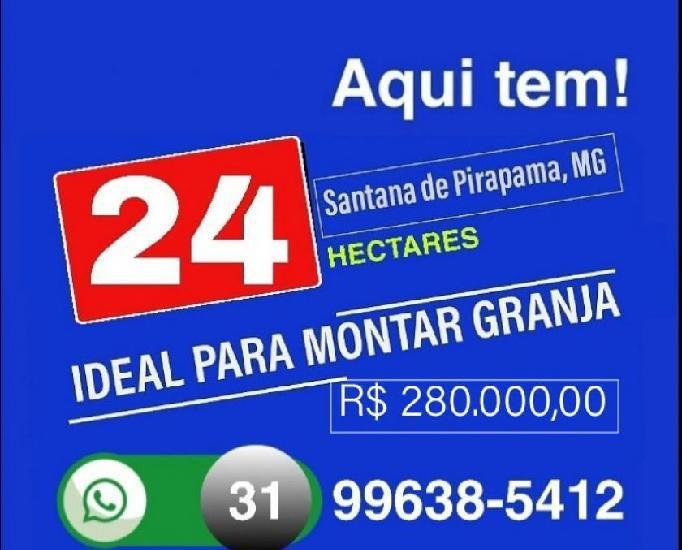Vende 24 hectares, região santana de pirapama, mg