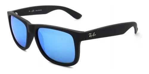 Culos ray-ban justin preto azul espelhado rb4165 original