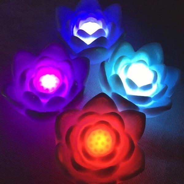 Luminária led flor de lótus multicolor