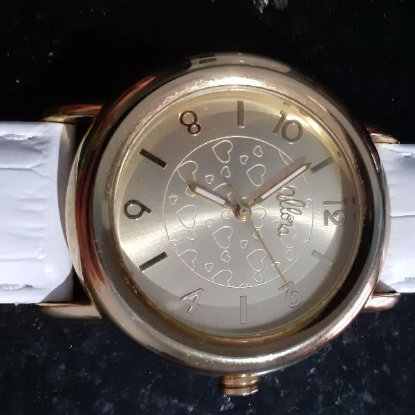 Relógio allora dourado com pulseira branca em couro