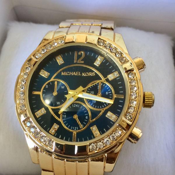 Relógio analógico feminino mk com strass dourado e azul