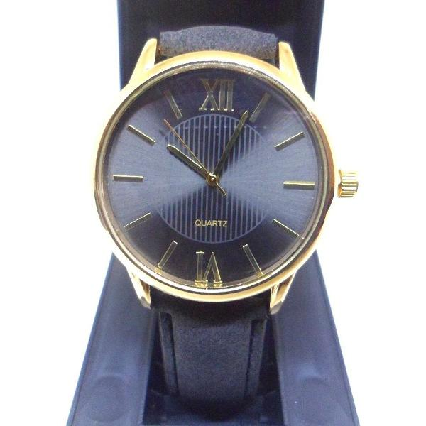 Relógio analógico feminino pulseira couro preto quartzo