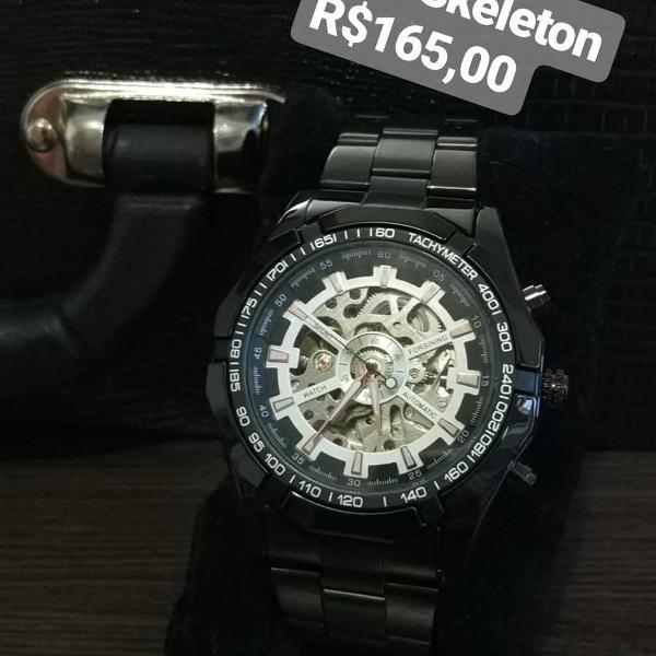 Relógio automático preto winner + brinde