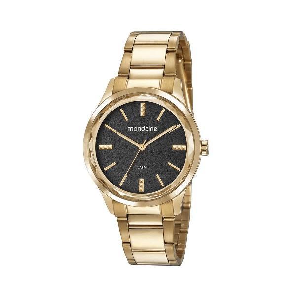 Relógio borda facetada dourado 53776lpmvde1