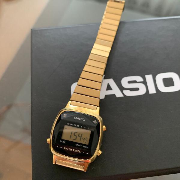 Relógio casio vintage mini diamond dourado