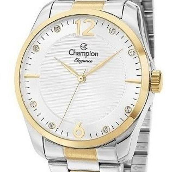 Relógio champion feminino prata dourado bicolor elegance