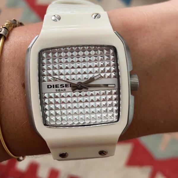 Relógio diesel couro branco