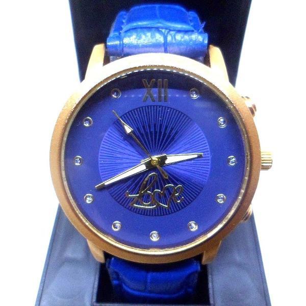 Relógio feminino analógico pulseira couro azul quartzo