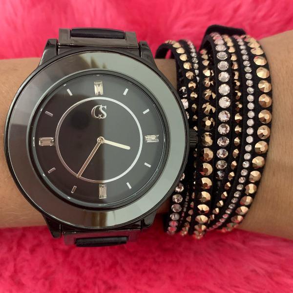Relógio feminino cromado preto prata - carmen steffens