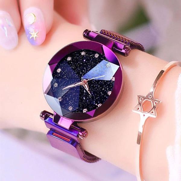 Relógio feminino céu estrelado diamante