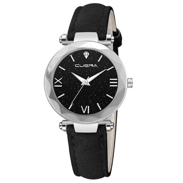 Relógio feminino de couro preto e prata