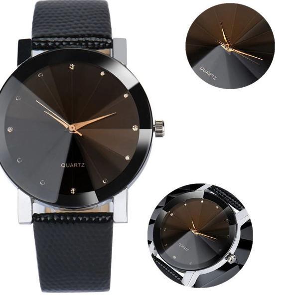 Relógio feminino de pulso quartz facetado