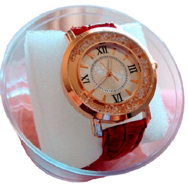 Relógio feminino dourado original luxo + pulseira azul