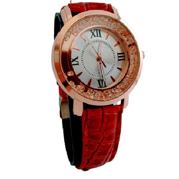 Relógio feminino lsutz redondo pulseira de couro vermelho