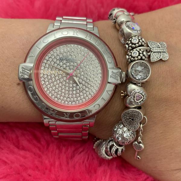 Relógio feminino prata rosa cristais victor hugo original
