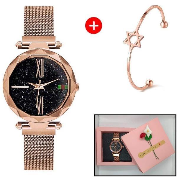 Relógio feminino pulseira de imã + bracelete + caixinha