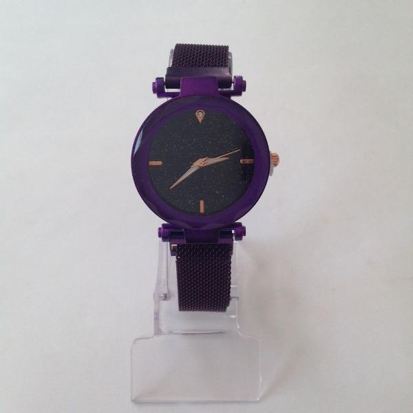 Relógio feminino pulseira de ímã roxo