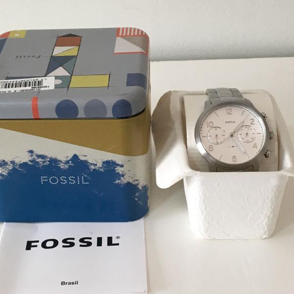 Relógio fóssil feminino prata