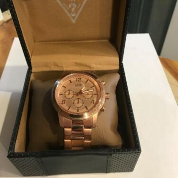 Relógio guess u16003g1 dourado rosê original