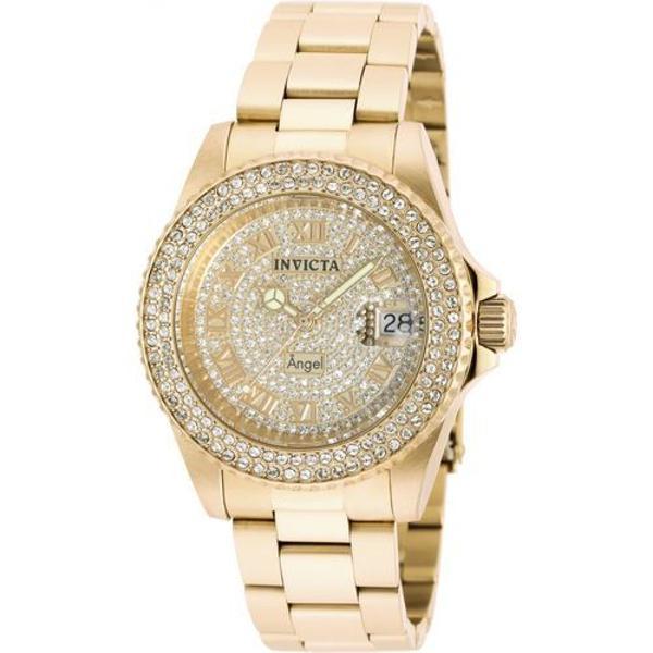 Relógio invicta angel 90255 feminino swiss banhado ouro 18k