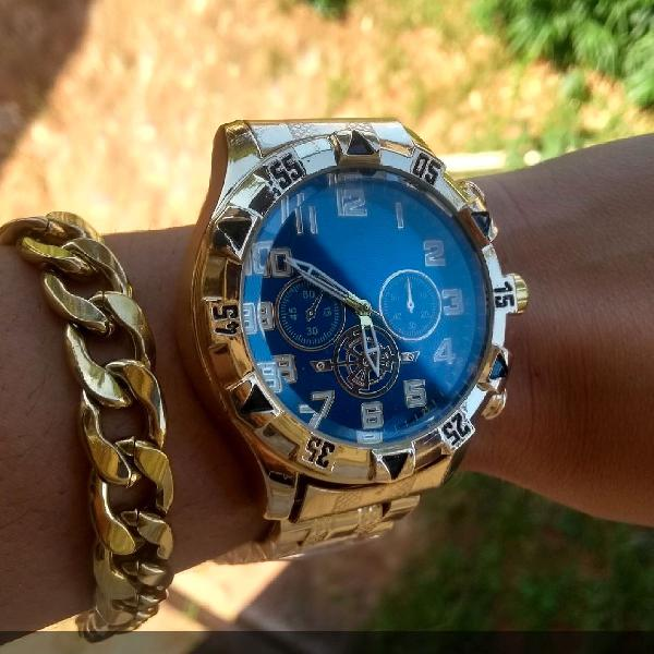 Relógio masculino e pulseira masculina folheada a ouro