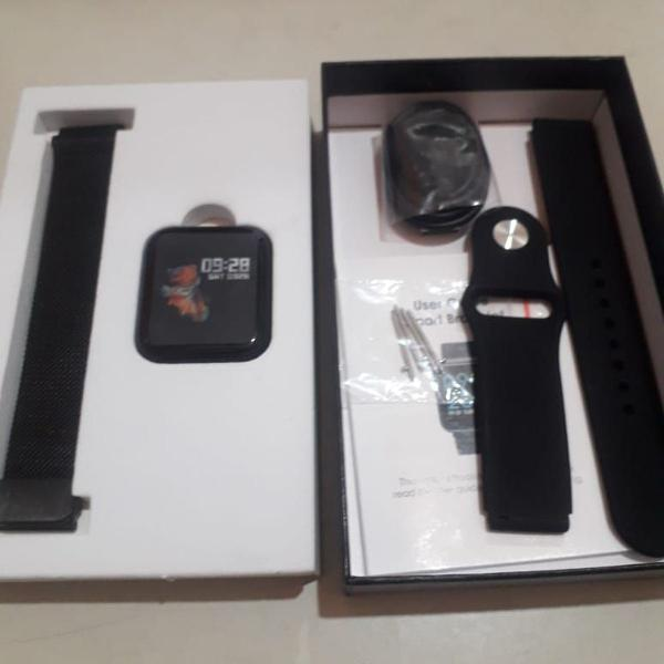Relógio smartwatch digital feminino e masculino 2 pulseiras
