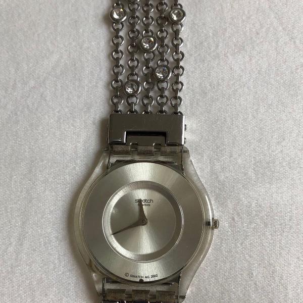 Relógio swatch shimmy swirl prateado