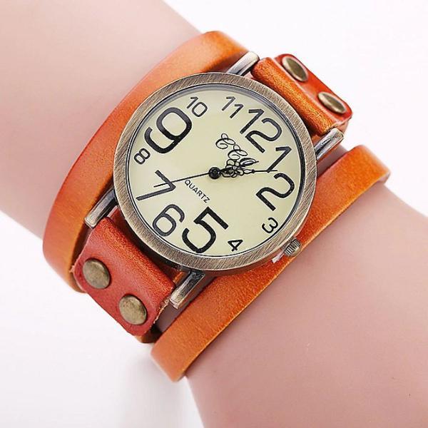 Relógio vintage de couro laranja