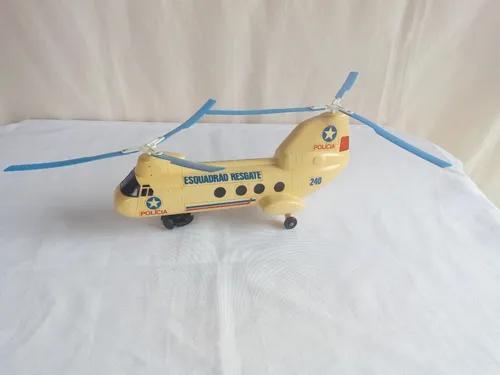 Brinquedo antigo helicoptero esquadrão resgate de glasslite