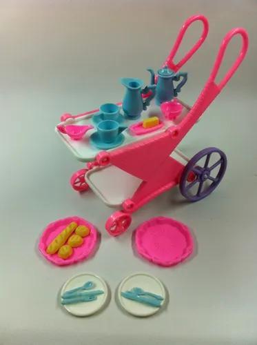 Mini carrinho chá boneca barbie susi brinquedo antigo plast