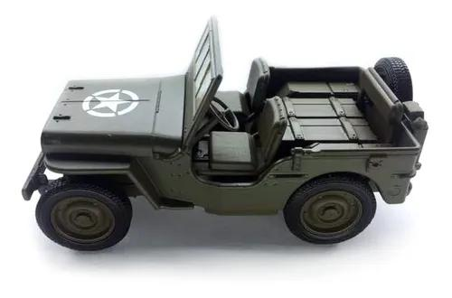 Miniatura Jeep Antigo 1941 Willys Army Militar Metal 1/38 F