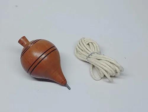 Pião artesanal novo madeira maçiça brinquedo ponta de