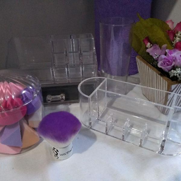Kit de acrílico porta make + esponjas