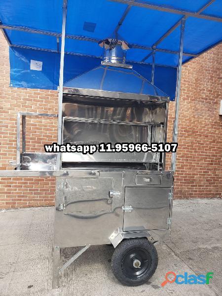 Carrinho de churrasco espetinho churrasqueira 93 cm