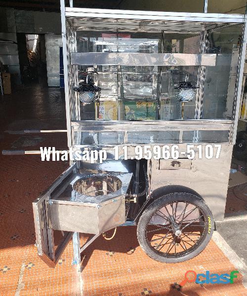 Carrinho de pipoca vidros altos fogareiro embutido modelo feito por encomenda
