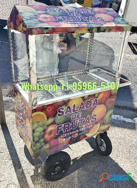 Carrinho de salada de frutas personalizado com toldo