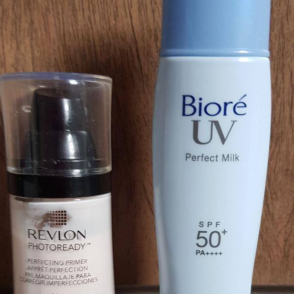 Primer Revlon + Bioré Perfect Milk + Aparelho de limpeza