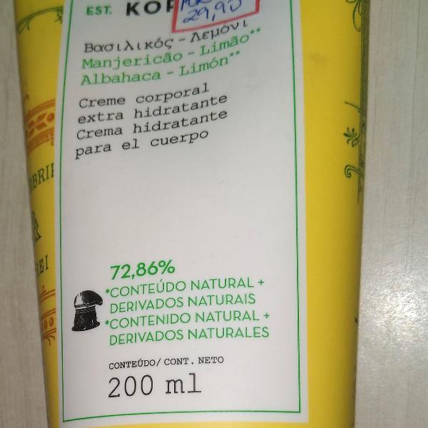 Hidratante limão e manjericão