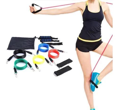 11 pçs / set resistência exercício faixas elásticas tubo