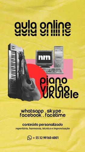 Aulas online de piano, teclado, violão e ukulele