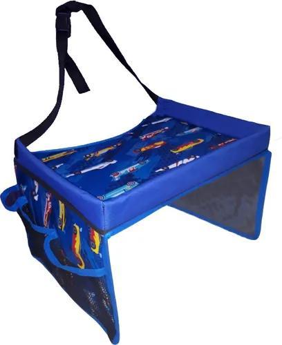 Cadeirinha mesinha infantil portátil carro canguru azul