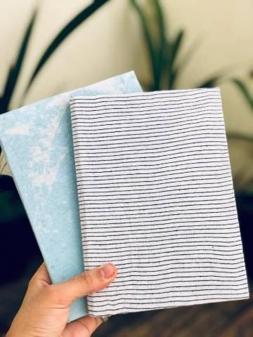 Cadernos artesanais de capa dura com tecido