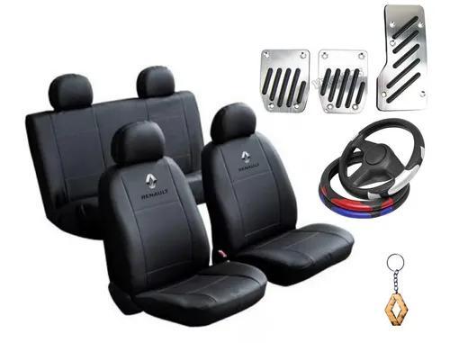 Kit capa bancos couro carro + pedal volante renault