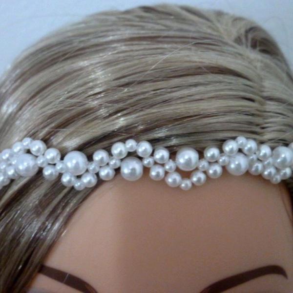 Tiara headband faixa perolas luxo noivas damas formatura