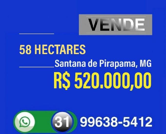 Vende 58 hectares, região santana de pirapama, mg